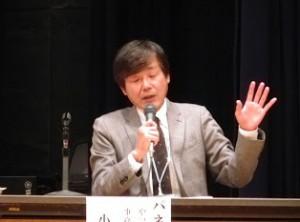 パネラーの小村 秀蔵さん(やったろうde高島 事務局)